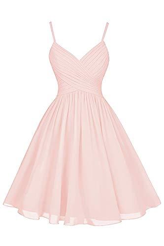 Blush Bridesmaid Dresses Short Knee Length A-Line V-Neck Chiffon Party Dress with Pockets