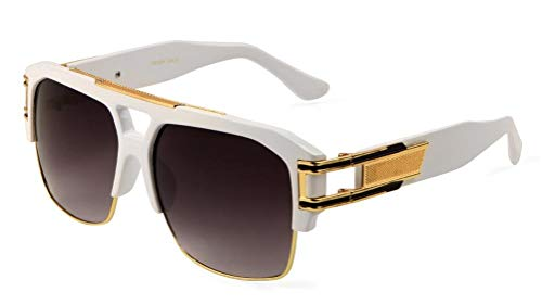 (Gazelle B-Boy Square Metal & Plastic Retro Aviator Sunglasses (White & Gold Frame, Black))