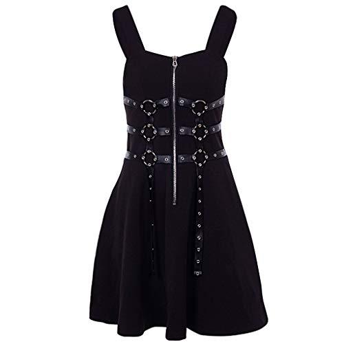 Console 34' Bathroom Sink - FEDULK Womens Punk Style Dress Zipper Pleated Gothic Street Wind Cosplay Retro Strap Flare Dress(Black, Medium)