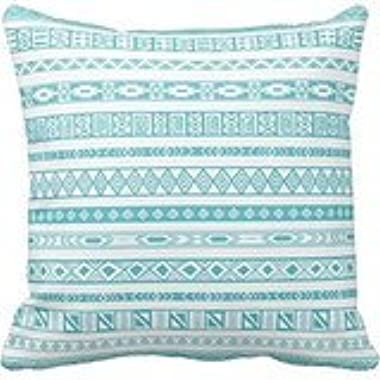 Lovest Decorative Home Design Aztec Tribal Ethnic Geometric Pattern Teal Blue Throw Pillow Cases Cushion Cover for Sofa or Bedrooms