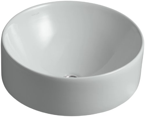 Kohler 14800-95 Vitreous china Above counter Round Bathroom Sink, 16.5 x 16.5 x 8 inches, Ice Gray