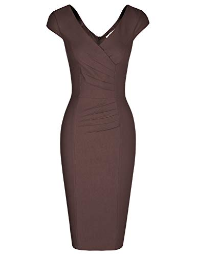 MUXXN Ladies Flattering Double V Neck High Stretchy Juniors Bridesmaid Brown Dress (Brown L)