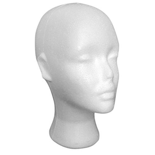 Bestpriceam Mannequin Female Foam Long Neck Head Model Hair Hat Wig Glasses Stand Display (White 2)