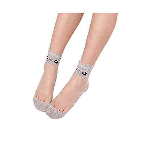 - Charberry Women Lace Transparent Crystal Stockings Ultrathin Beautiful Elastic Short Socks (Gray)