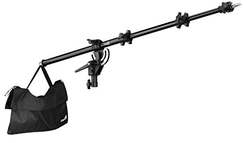 (Impact Adjustable Mid-Range Tripod Boom Arm for Light Stand with 5 lb Capacity Sandbag and Extends to 60 Inches- Portable Light Stand Boom Arm Reflector Holder for Photography LSA-BAMR )