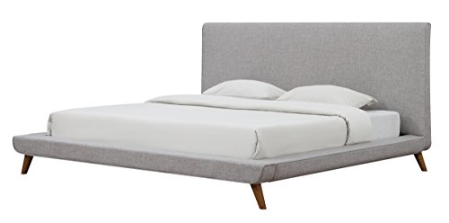 TOV Furniture The Nixon Collection Mid-Century Linen Upholstered Wooden Platform Bed , Queen Size, Beige