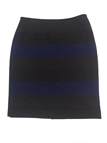 Tahari ASL Womens Striped Knee-Length Pencil Skirt Navy 14