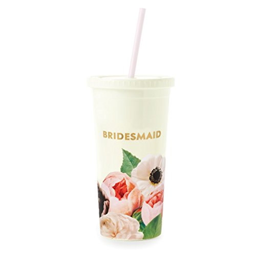 Kate Spade New York Bridesmaids Insulated Plastic Tumbler With Reusable Silicone Straw, 20oz, Blushing Floral