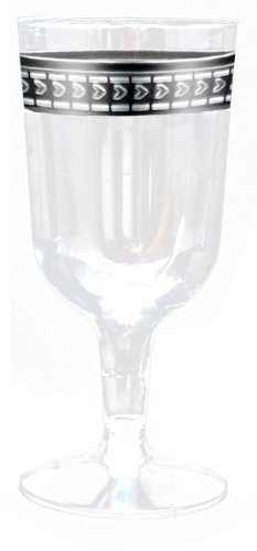Symphony Clear with Silver Rim 5oz. Heavyweight Plastic Wine Goblets 10 Count