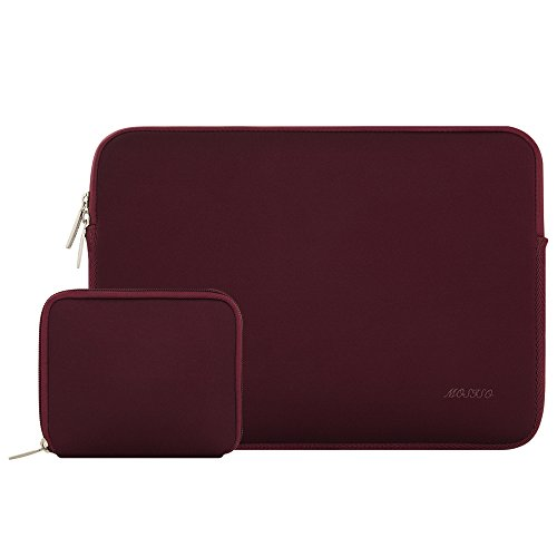 Mosiso Water Repellent Lycra Sleeve Bag Cover for 13-13.3 Inch Laptop with Small Case for MacBook Charger, Wine Red
