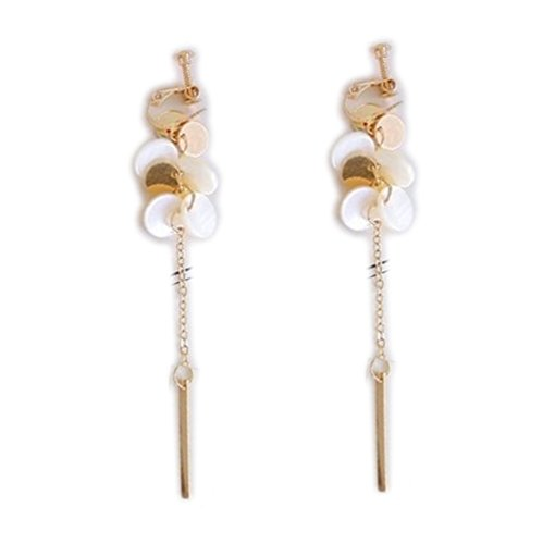 (Screw Back Clip on Earring Clip for No Piercing Dangle Shell Round Tassel Gold-tone for Girl)