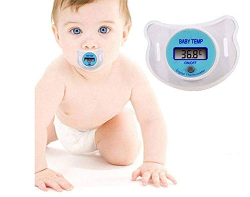 - Easy To Clean Baby Nipple Thermometer, Infant Digital Dummy Pacifier Thermometer With Soft Nipple Soother Trendy Safe (Color : Blue)