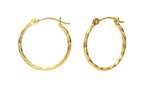 14k Yellow Gold Twisted Round Hoop Earrings (16mm)