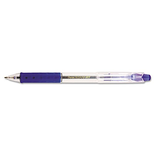 Pentel BK93C R.S.V.P. RT Retractable Ballpoint Pen, 1mm, Clear Barrel, Blue Ink, Dozen
