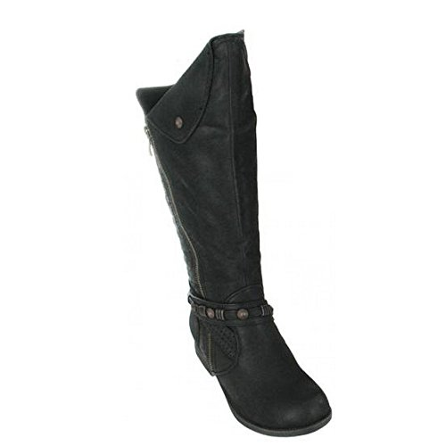 COCO Womens/Ladies Stylish Long Boots Black B3NalS2