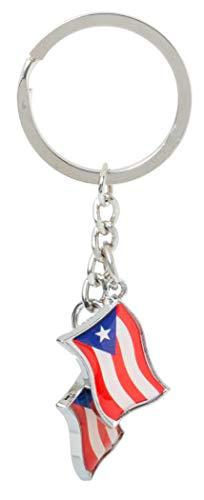 Artisan Owl Puerto Rico Dangling Flag Charms Metal Souvenir Key Chain