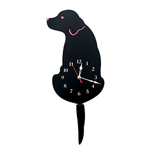 xuanL Cartoon Dog Wag Tail Wall Watch Home Kitchen Office School Cute Acrylic Clock Wall Decorations