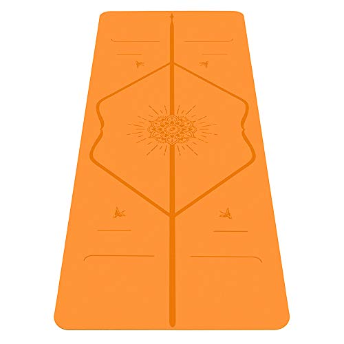 Liforme Happiness Yoga Mat – The World s Best Eco-Friendly, Non Slip Yoga Mat with The Patented Alignment Marker System – Biodegradable and Natural Rubber Yoga Mat – Happiness Orange Special Edition