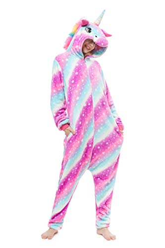 Yutown New Adult Animal Costume Onesie Unicorn Halloween Cosplay Pajama Zipper Starry Pegasus S