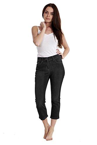 Capri Summer Pants Crop Ex Ladies Famous 4 Cropped Denim Black Store Pockets 3 Stretch Trousers 44vI7