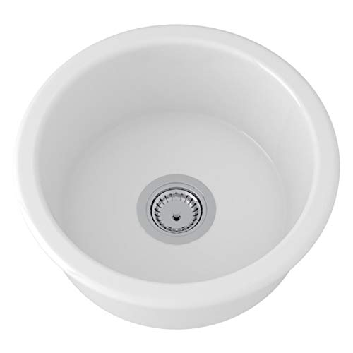 - Rohl 6737-00 FIRECLAY KITCHEN SINKS, 18-1/8-Inch Diameter, White
