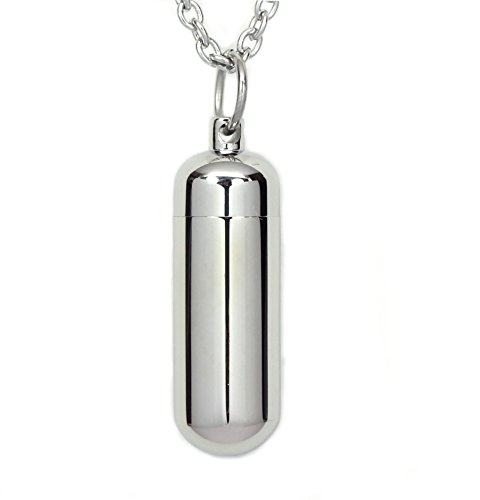 - Zoey Jewelry Stainless Steel Capsule Pill Pendant with Glass Tube Cremation Urn Medicine Necklace Fill Kit