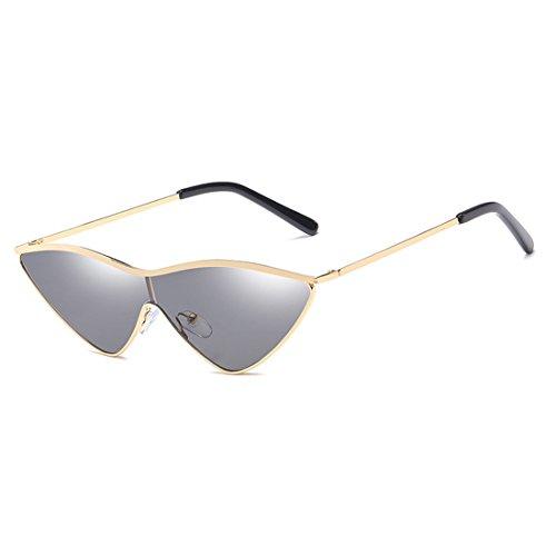 dama Triangle uv400 pequeñas lente sol gato Gris verde rosa Inlefen de mujer gafas pieza Dorado ojo sol metal de una de mujeres gafas de R1PdUqw