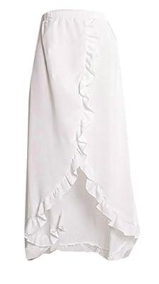 Pandapang Womens Solid Slit Ruffles Holiday Casual Beach Long Skirt