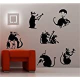 Online Design Banksy Style Rats X 6 Wandtattoo Vinyl Graffiti - Schwarz