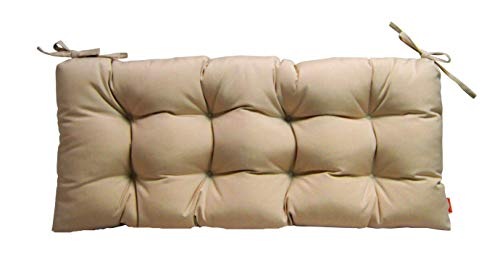 RSH Décor Sunbrella Canvas Antique Beige Neutral Tan Indoor/Outdoor Tufted Cushion with Ties for Bench, Swing, Glider - Choose Size (72