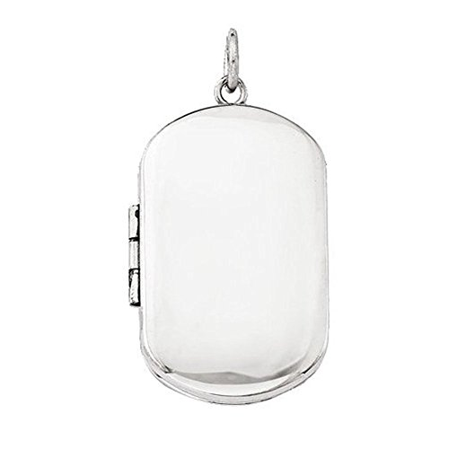 Sterling Silver Dog Tag Locket - 1 Inch X 1-1/4 Inch in Sterling Silver - Dog Tag Locket