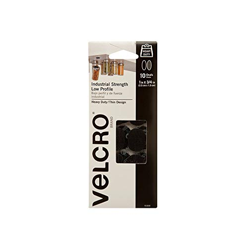 VELCRO Brand Industrial Fasteners | Low Profile Thin Design | Professional Grade Heavy Duty Strength | Indoor Outdoor Use | 1in x 3/4in Ovals, 10 Sets, Black from VELCRO Brand