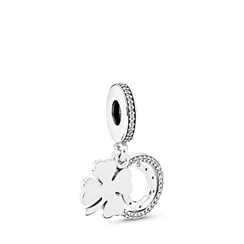 (PANDORA Lucky Day Dangle Charm, Sterling Silver, Clear Cubic Zirconia, One Size)