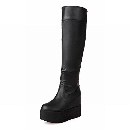 Carolbar Womens Cosplay Fashion Charm Platform Sleehak Tall Dress Boots Black