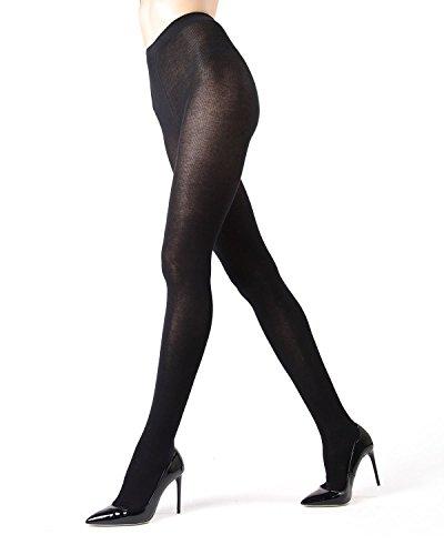 Knit Sweater Tights | Women's Hosiery - Pantyhose Black MO 325 Medium/Large ()