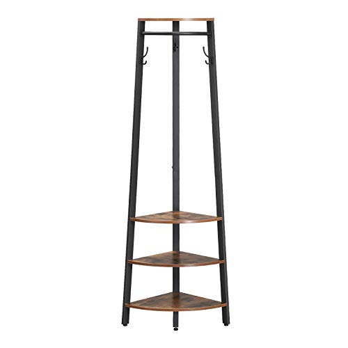 VASAGLE Industrial Corner Coat Rack, Coat Stand with Storage Shelves, Clothes Hanging Rail and Hooks, Space Saving in Hallway and Living Room, Study Metal Frame - Corner Rack