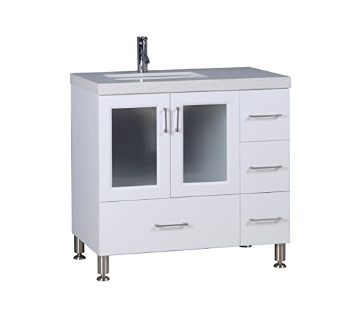 """Design Elements West field 36"""" Single Sink Vanity set with White quartz counter top four drawers one double-door Cabinet Finished in Espresso (White)"""