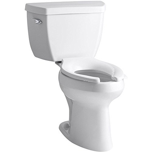 Kohler K-3493-T-0 Highline Classic Pressure Lite Comfort Height Elongated 1.4 gpf Toilet with Left-Hand Trip Lever and Tank Cover Locks, Less Seat, White by Kohler