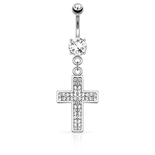 - Dynamique Gem Paved Cross Dangle Belly Button Navel Ring