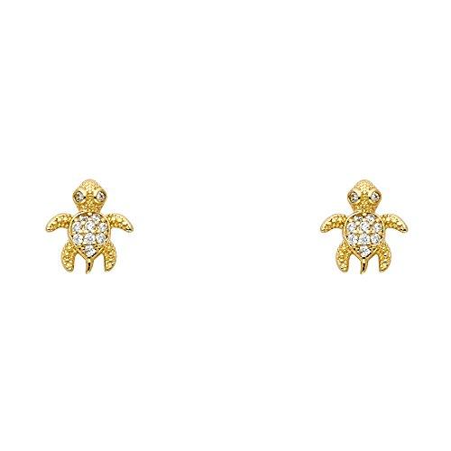 Wellingsale 14K Yellow Gold Polished Turtle Stud Earrings With Screw Back ()