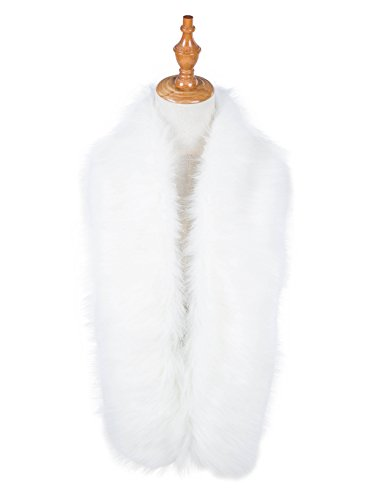 Faux Fur Collar Wrap Shrug for Winter Coat Flapper Fur Feather Boa Gatsby Scarf 1920s Shawl Accessories (Gatsby Outfits Women)