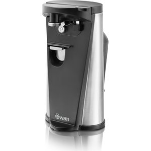 SP20110N Electric Can Opener Black - Never struggle opening aluminium cans again thanks to this Automatic Electric Can Opener from iconic housewares manufacturer Swan