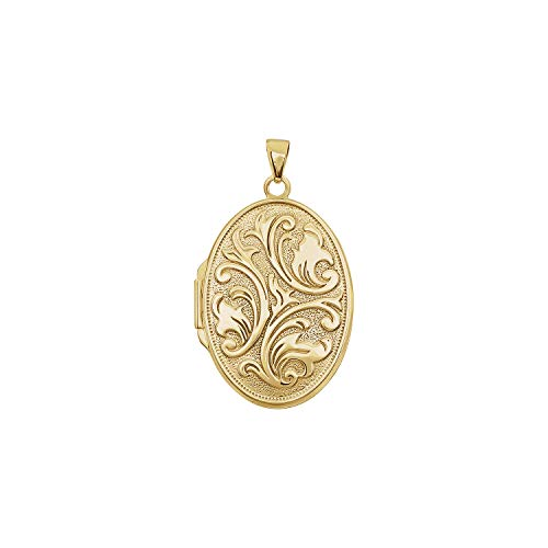 14K Yellow Gold Oval Embossed Locket - Gold Embossed Oval Locket