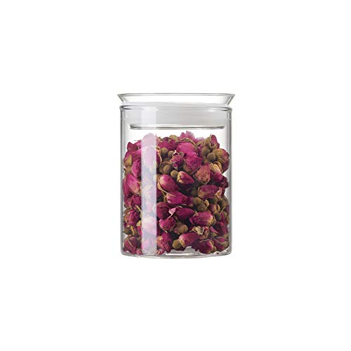 ZENS Airtight Glass Jar Container,15 oz 450 ml Clear Glass Canister with Lid,Food Storage Jarsfor Serving Tea and Spice