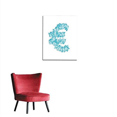Wall Sticker Decals Alphabet Crystal diamond D virtual set Currency EUR European Euro symbol illustration Gemstone concept design blue color isolated on white background vector eps mural 32