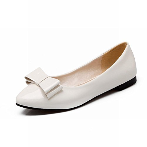 Carol Shoes Chic Womens Sweet Bows Cuff Casual Elegance Pointed-toe Flats Loafers Shoes White PnVrpeD1mP