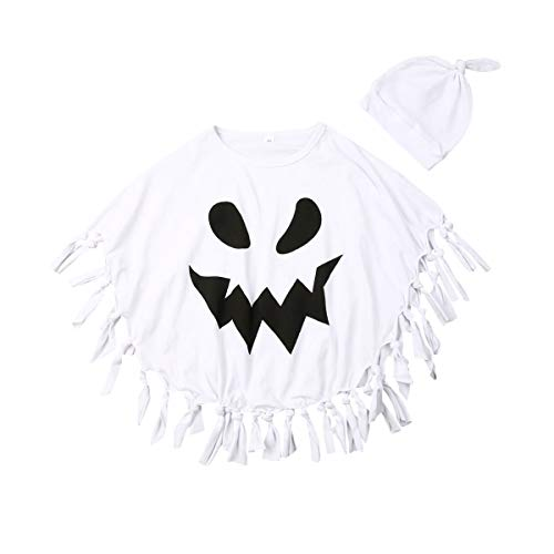 Fantasmas Para Halloween (Muasaaluxi Toddler Kid Baby Girls Boys Halloween Costumes White Ghost Cloak Tassel Cape Cosplay with Hat Outfits 1-5Y (1-2Y,)