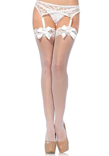 Leg Avenue Women's Sheer Lace Top Thigh High Stockings With Bow, White, One Size (Lace Top Thigh High Stockings)