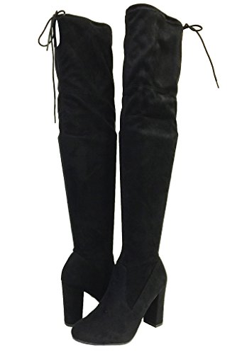 Delicious Women's Faux Suede Back Tie Over The Knee Chunky High Heel Dress Boot,8 B(M) US,Black Faux Suede
