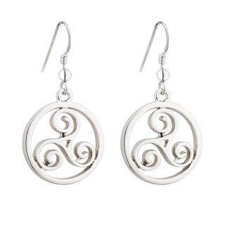 Solvar Rhodium Celtic Spiral Drop Earrings Celtic Spiral Earrings